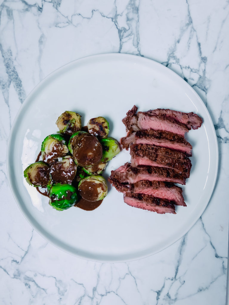 Steak with Balsamic Brussels Sprouts