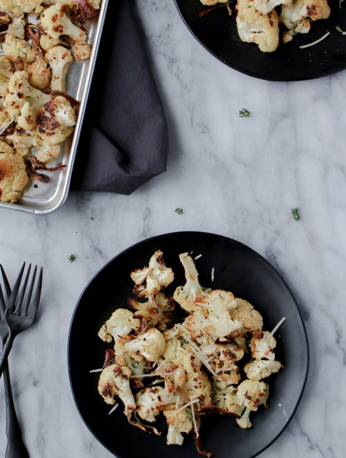 Roasted Cauliflower on dishes
