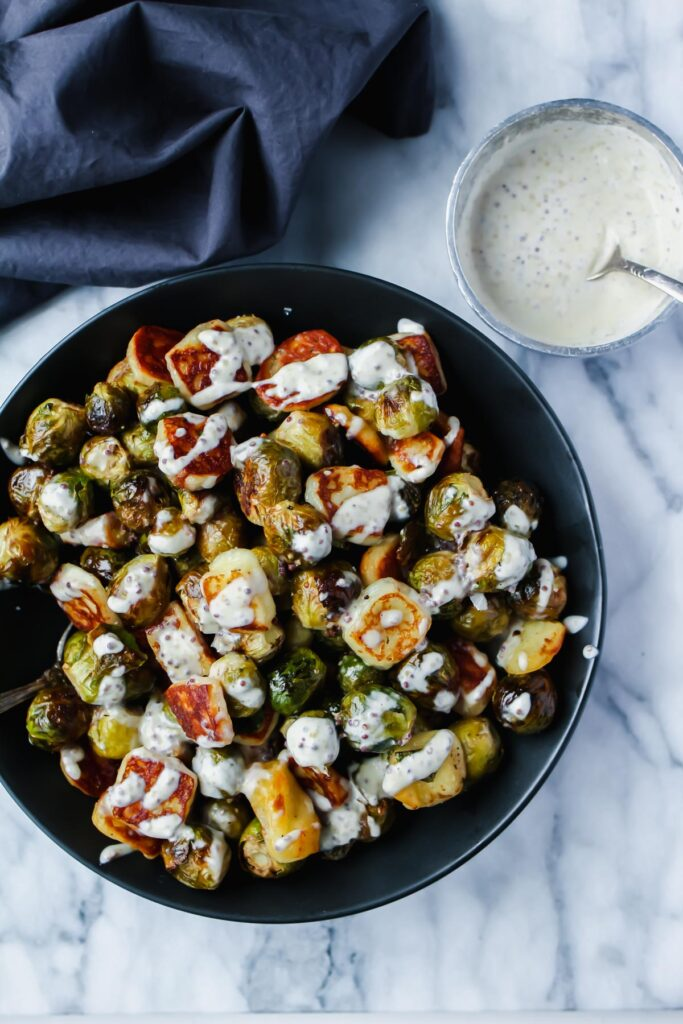 Brussels Sprouts with Holloumi Cheese
