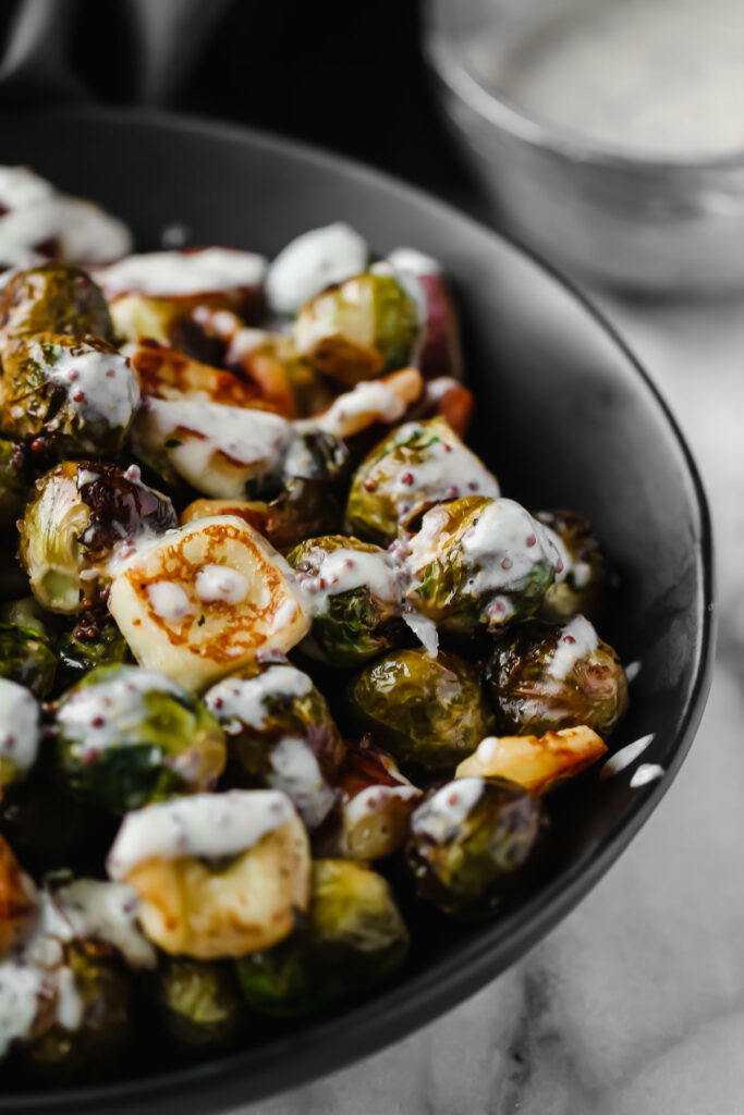 Brussels Sprouts with Halloumi Cheese