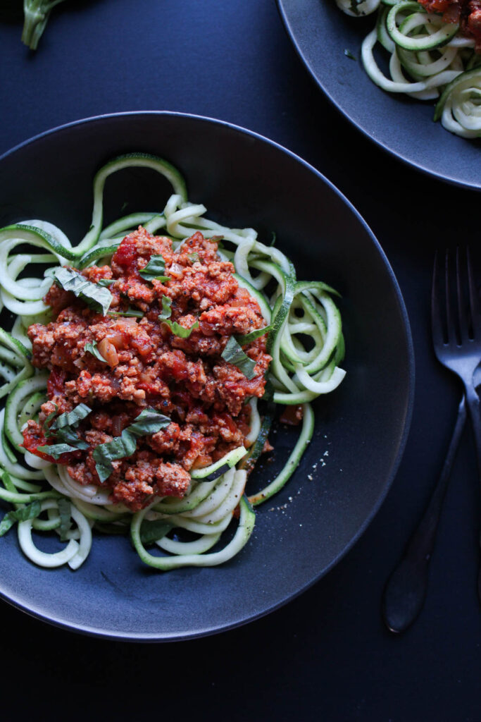 zoodles with turkey bolognese