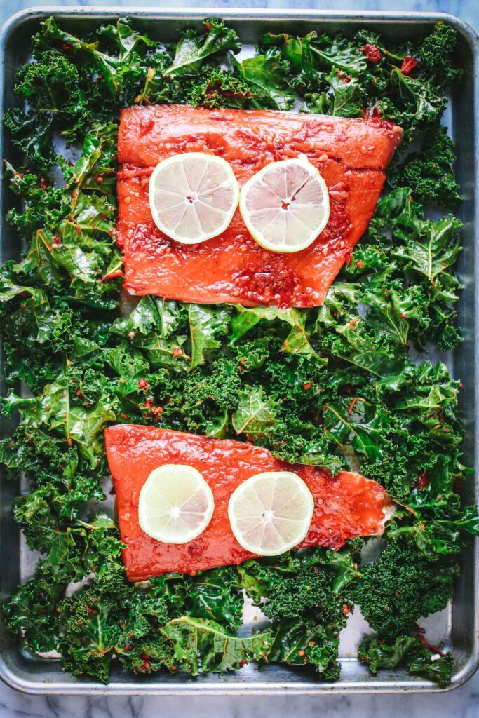 salmon with harissa and kale