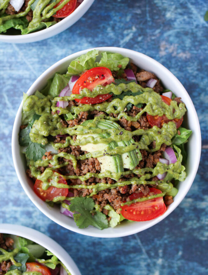 Taco salad with cilantro sauce