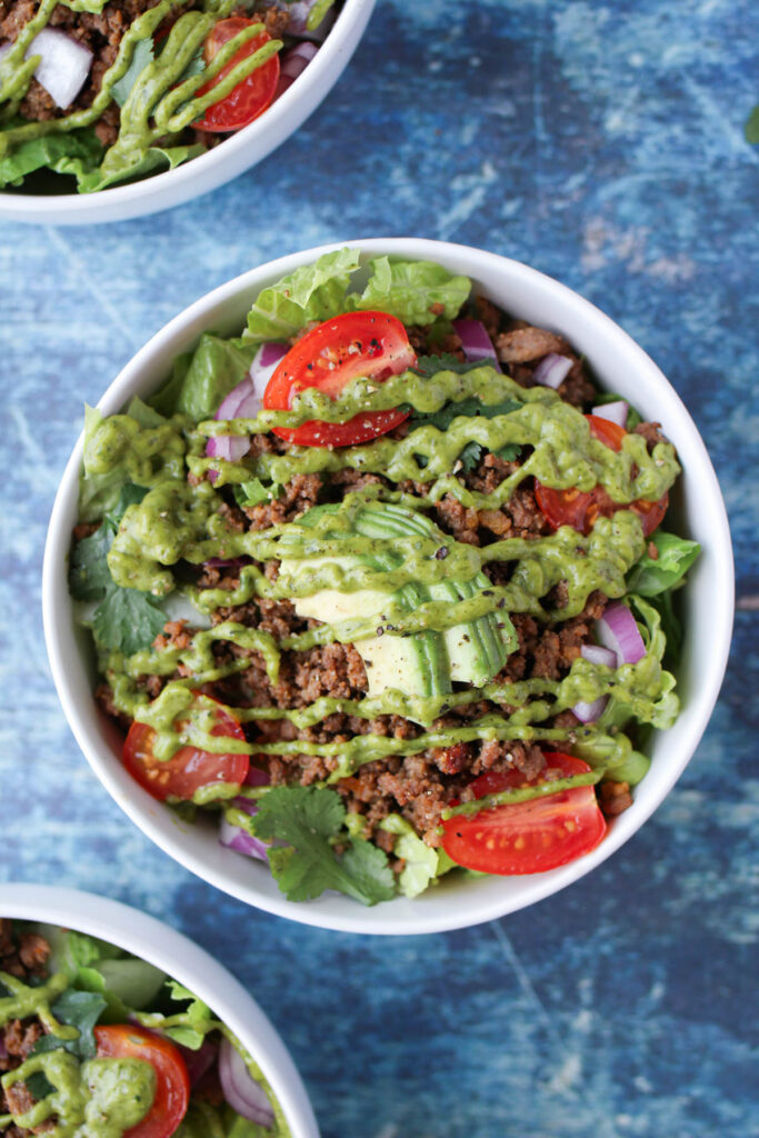 Taco salad with cilantro lime sauce