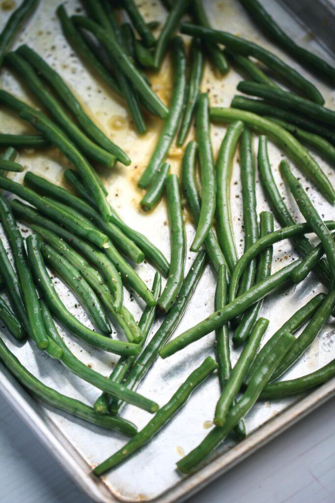 green beans on pan